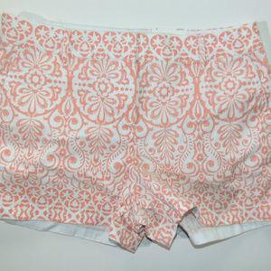 NWT $40 ELLE Peach Floral Swirl Chino Shorts Sz 6